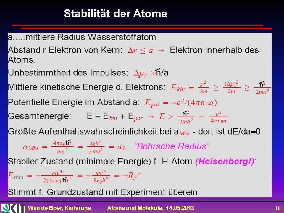 Wim de Boer, Karlsruhe Atome und Moleküle, 14.05.2013 16 Stabilität der Atome