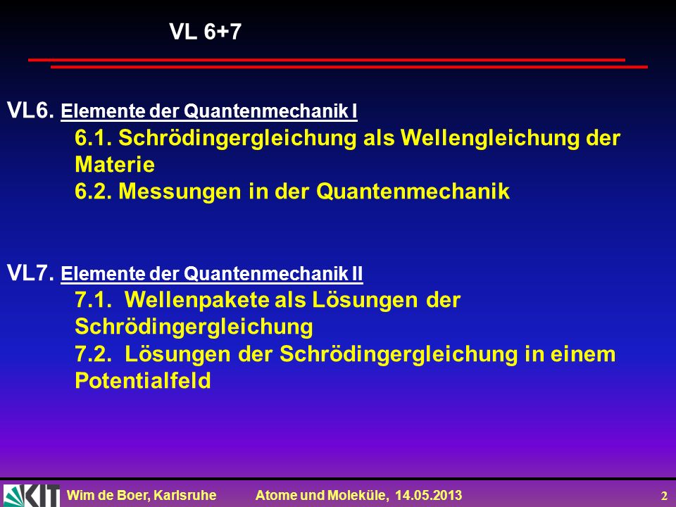Wim de Boer, Karlsruhe Atome und Moleküle, 14.05.2013 2 VL6. Elemente der Quantenmechanik I 6.1. Schrödingergleichung als Wellengleichung der Materie
