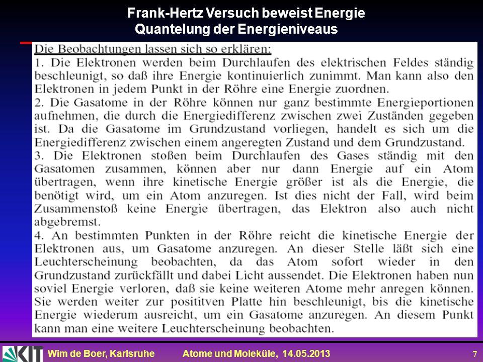Wim de Boer, Karlsruhe Atome und Moleküle, 14.05.2013 18 Zusammenfassung des Bohrschen Atommodells Vorsicht: Drehimpuls im Bohrschen Modell schlicht FALSCH,weil Elektron sich nicht auf Bahnenbewegt, sondern die AW sich aus derSG ergibt.