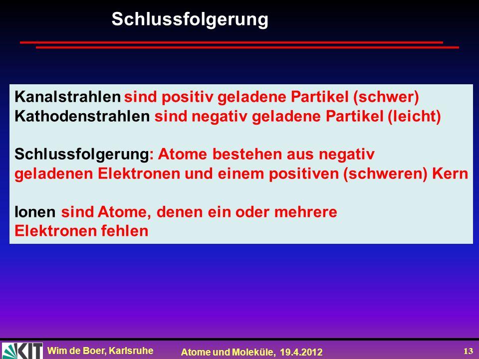 Wim de Boer, Karlsruhe Atome und Moleküle, 19.4.2012 13 Schlussfolgerung, Kanalstrahlen sind positiv geladene Partikel (schwer) Kathodenstrahlen sind
