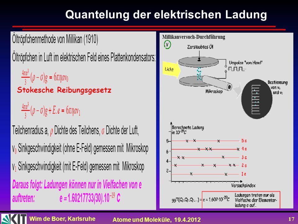 Wim de Boer, Karlsruhe Atome und Moleküle, 19.4.2012 17 Quantelung der elektrischen Ladung Stokesche Reibungsgesetz