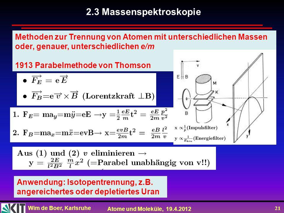 Wim de Boer, Karlsruhe Atome und Moleküle, 19.4.2012 21 Methoden zur Trennung von Atomen mit unterschiedlichen Massen oder, genauer, unterschiedlichen