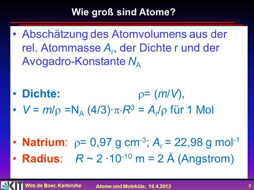 Wim de Boer, Karlsruhe Atome und Moleküle, 19.4.2012 3 Abschätzung des Atomvolumens aus der rel. Atommasse A r, der Dichte r und der Avogadro-Konstant