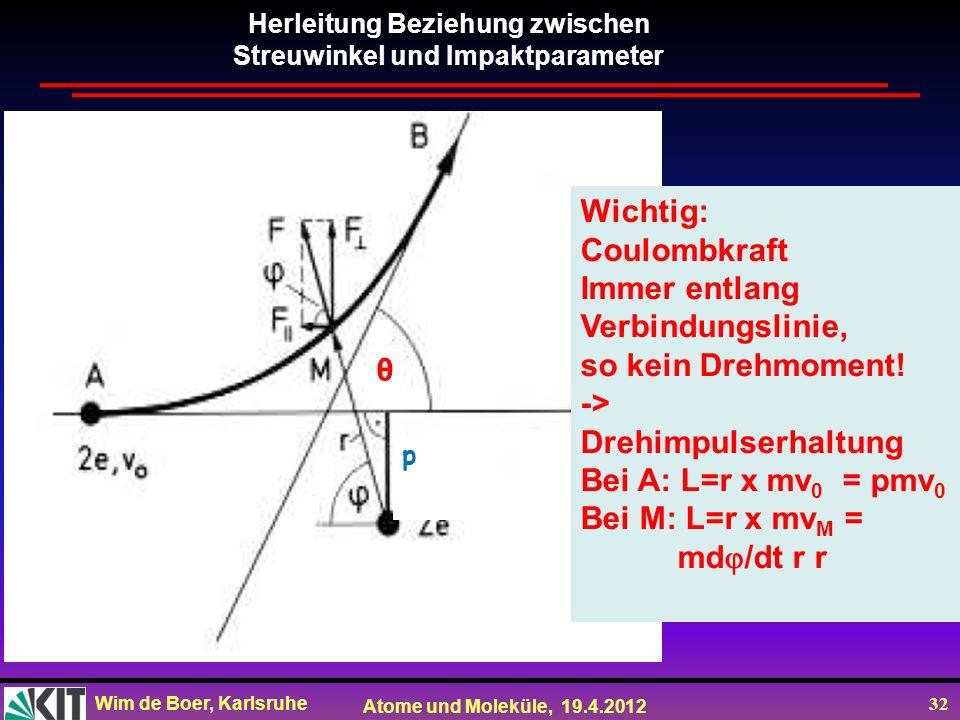 Wim de Boer, Karlsruhe Atome und Moleküle, 19.4.2012 32 p Herleitung Beziehung zwischen Streuwinkel und Impaktparameter Wichtig: Coulombkraft Immer en