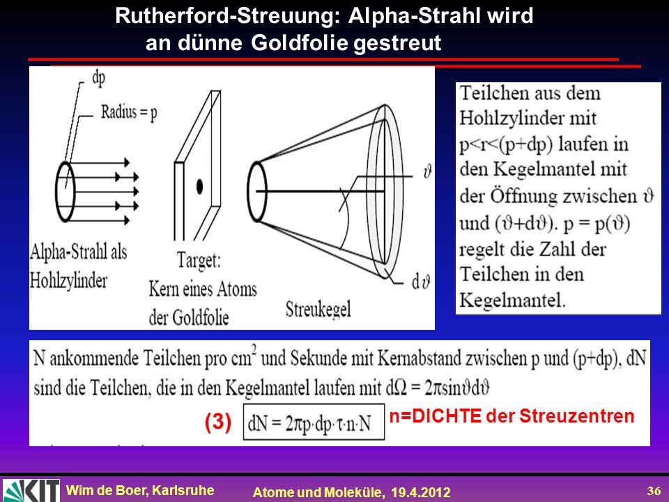 Wim de Boer, Karlsruhe Atome und Moleküle, 19.4.2012 36 n=DICHTE der Streuzentren Rutherford-Streuung: Alpha-Strahl wird an dünne Goldfolie gestreut (