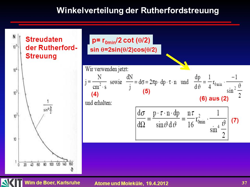 Wim de Boer, Karlsruhe Atome und Moleküle, 19.4.2012 37 Streudaten der Rutherford- Streuung Winkelverteilung der Rutherfordstreuung (4) (6) aus(2) (5)
