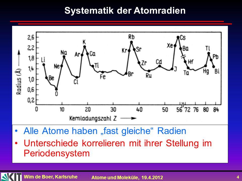 Wim de Boer, Karlsruhe Atome und Moleküle, 19.4.2012 4 Alle Atome haben fast gleiche Radien Unterschiede korrelieren mit ihrer Stellung im Periodensys