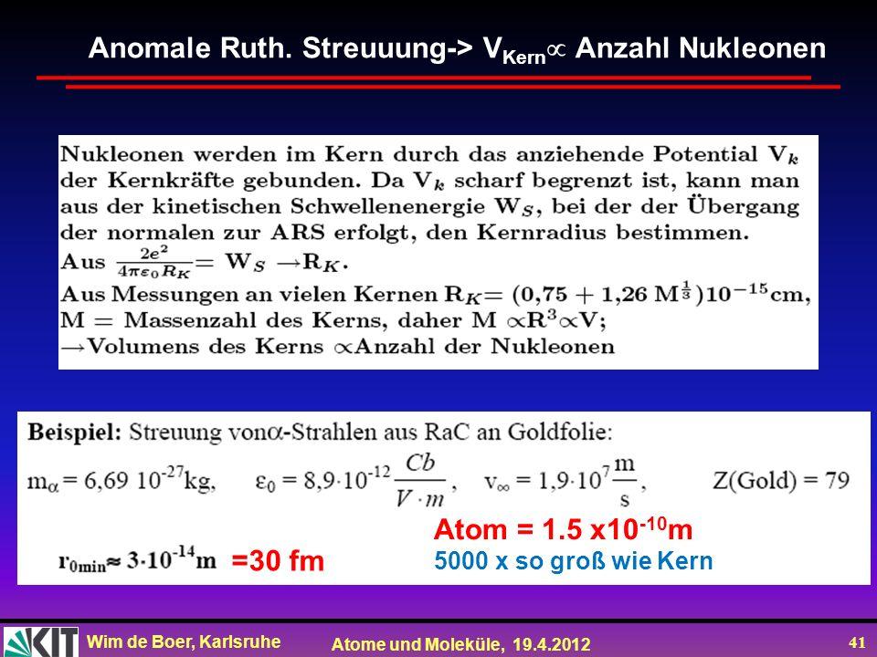 Wim de Boer, Karlsruhe Atome und Moleküle, 19.4.2012 41 Anomale Ruth. Streuuung-> V Kern Anzahl Nukleonen =30 fm Atom = 1.5 x10 -10 m 5000 x so groß w