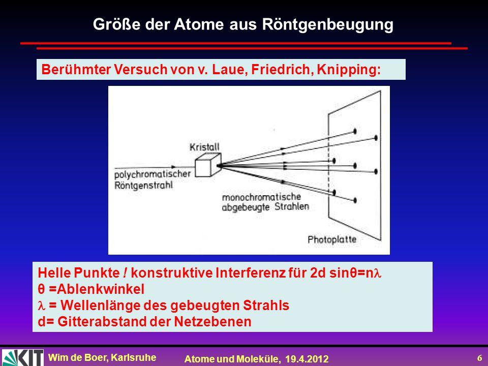 Wim de Boer, Karlsruhe Atome und Moleküle, 19.4.2012 37 Streudaten der Rutherford- Streuung Winkelverteilung der Rutherfordstreuung (4) (6) aus(2) (5) (7) p= r 0min /2 cot ( /2) sin =2sin( /2)cos( /2)