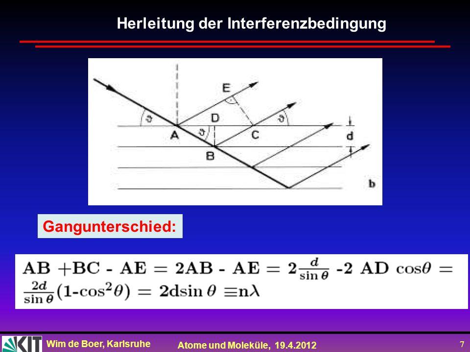 Wim de Boer, Karlsruhe Atome und Moleküle, 19.4.2012 8 1) Braggsches Drehkristall-Verfahren mit monochromatischem Röntgenlicht; Interferenzwinkel bestimmt durch Drehen bis Maximum auftritt.