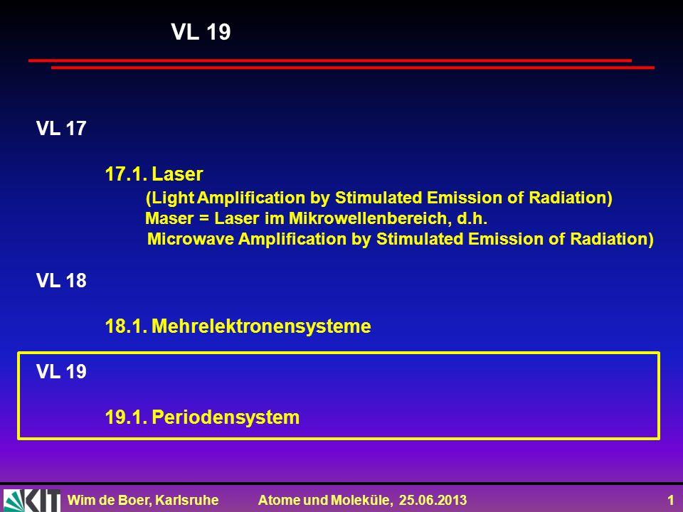 Wim de Boer, Karlsruhe Atome und Moleküle, 25.06.2013 2 Vorlesung 20: Roter Faden: Periodensystem Folien auf dem Web: http://www-ekp.physik.uni-karlsruhe.de/~deboer/ Siehe auch: http://www.wmi.badw.de/teaching/Lecturenotes/index.html http://www.uni-stuttgart.de/ipf/lehre/online-skript/