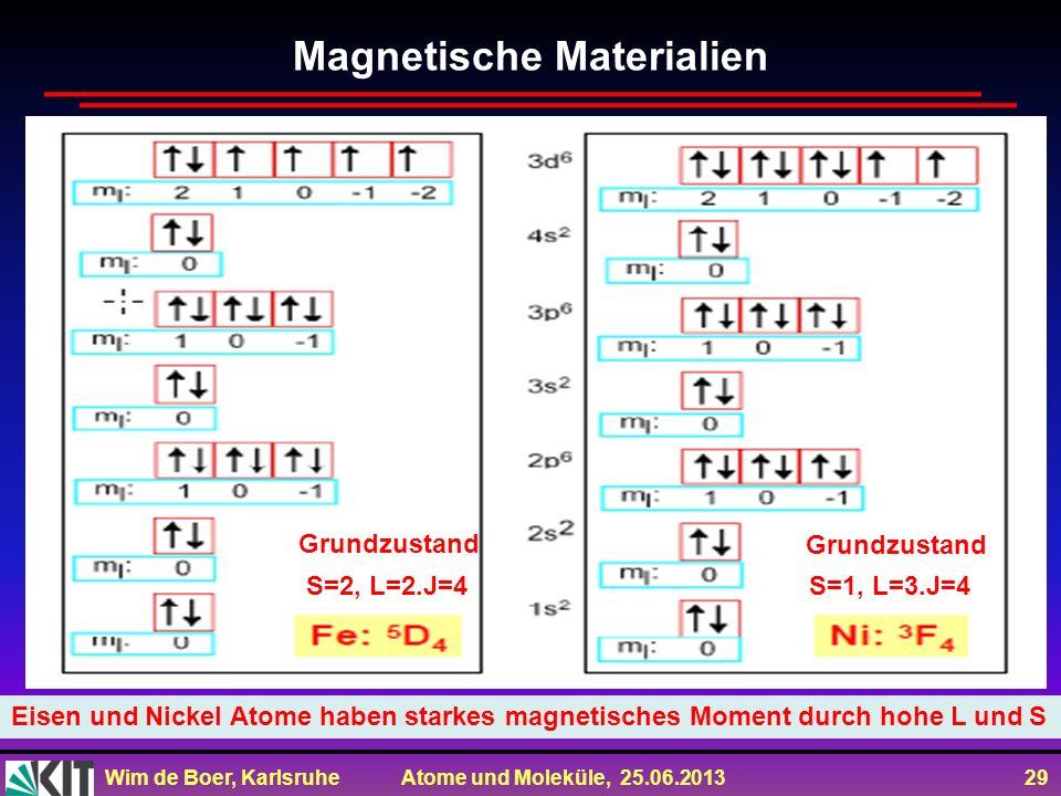 Wim de Boer, Karlsruhe Atome und Moleküle, 25.06.2013 29 Magnetische Materialien Eisen und Nickel Atome haben starkes magnetisches Moment durch hohe L
