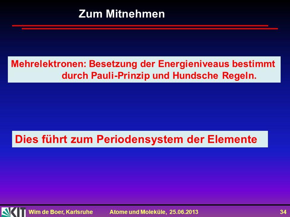 Wim de Boer, Karlsruhe Atome und Moleküle, 25.06.2013 34 Zum Mitnehmen Mehrelektronen: Besetzung der Energieniveaus bestimmt durch Pauli-Prinzip und H