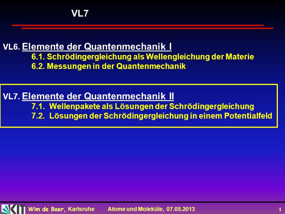 Wim de Boer, Karlsruhe Atome und Moleküle, 07.05.2013 1 VL6.