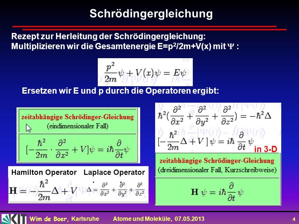 Wim de Boer, Karlsruhe Atome und Moleküle, 07.05.2013 4 Ersetzen wir E und p durch die Operatoren ergibt: in 3-D Schrödingergleichung Rezept zur Herleitung der Schrödingergleichung: Multiplizieren wir die Gesamtenergie E=p 2 /2m+V(x) mit : Hamilton OperatorLaplace Operator