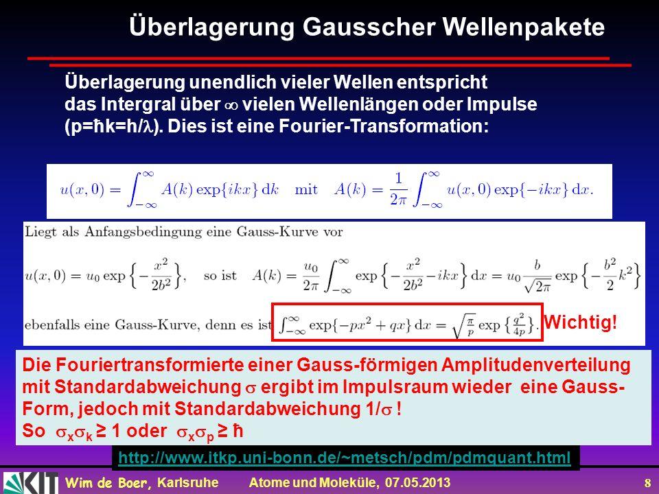 Wim de Boer, Karlsruhe Atome und Moleküle, 07.05.2013 8 Überlagerung Gausscher Wellenpakete Überlagerung unendlich vieler Wellen entspricht das Intergral über vielen Wellenlängen oder Impulse (p=ħk=h/ ).
