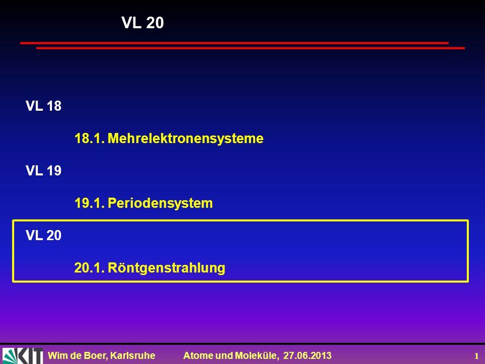 Wim de Boer, Karlsruhe Atome und Moleküle, 27.06.2013 1 VL 18 18.1. Mehrelektronensysteme VL 19 19.1. Periodensystem VL 20 20.1. Röntgenstrahlung VL 2