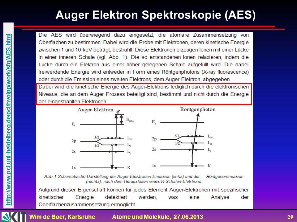 Wim de Boer, Karlsruhe Atome und Moleküle, 27.06.2013 29 Auger Elektron Spektroskopie (AES) http://www.pci.uni-heidelberg.de/pci/hvolpp/work/sfg/AES.h