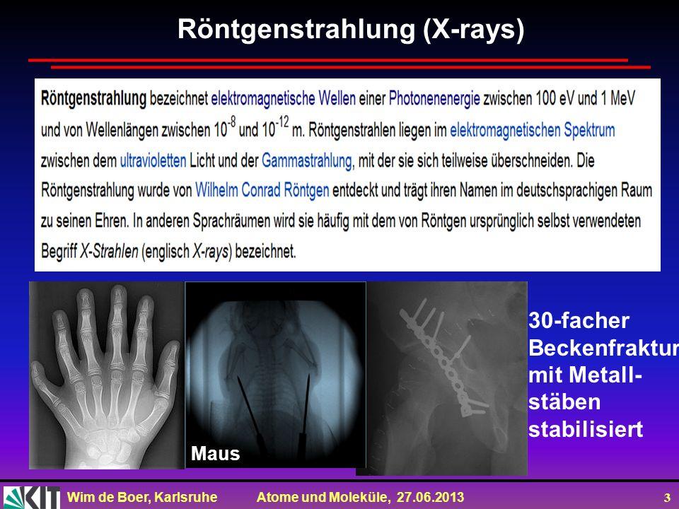 Wim de Boer, Karlsruhe Atome und Moleküle, 27.06.2013 24 Fluoreszenz: durch einen Laserstrahl oder Röntgenstrahlung werden Atome angeregt (=Elektronen in höheren Schalen oder entfernt).