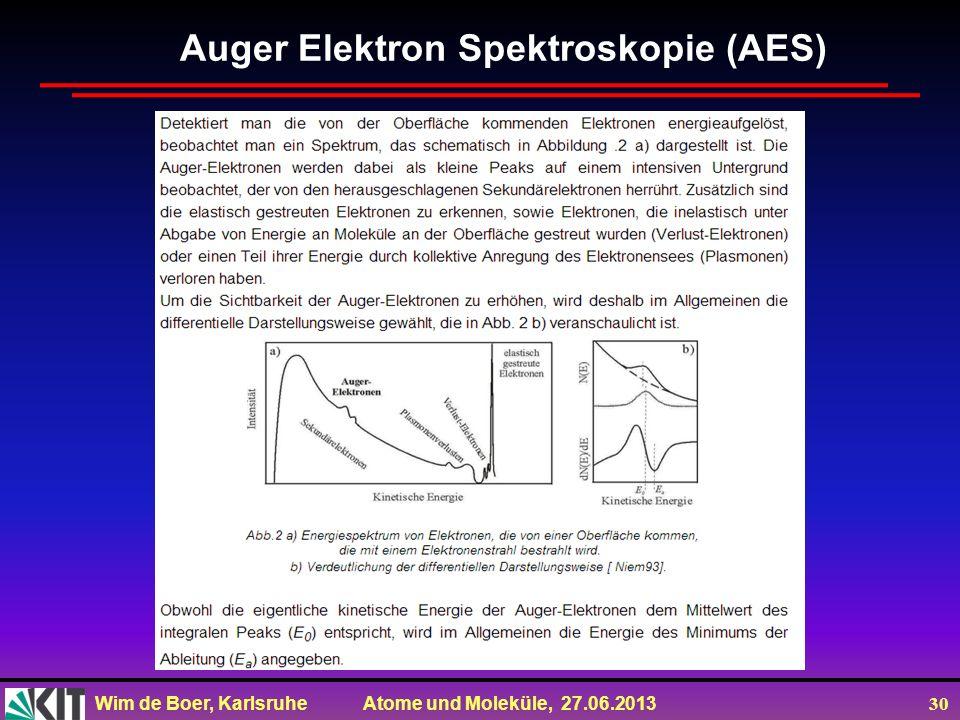 Wim de Boer, Karlsruhe Atome und Moleküle, 27.06.2013 30 Auger Elektron Spektroskopie (AES)