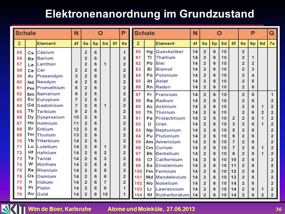 Wim de Boer, Karlsruhe Atome und Moleküle, 27.06.2013 36 Elektronenanordnung im Grundzustand