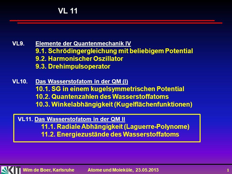 Wim de Boer, Karlsruhe Atome und Moleküle, 23.05.2013 1 VL9.Elemente der Quantenmechanik IV 9.1.