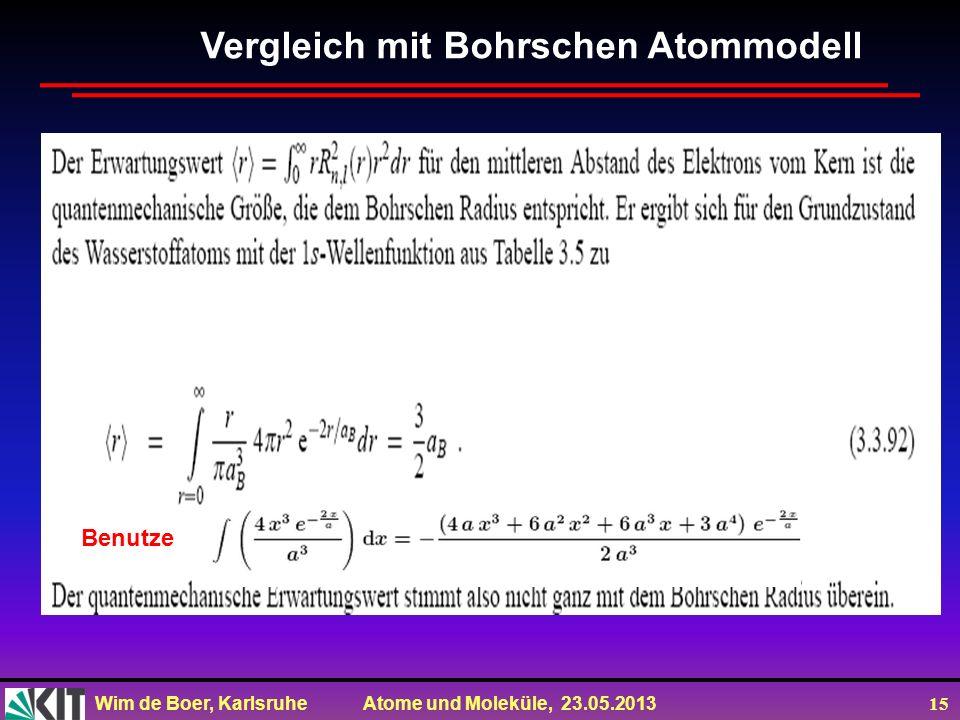 Wim de Boer, Karlsruhe Atome und Moleküle, 23.05.2013 15 Vergleich mit Bohrschen Atommodell Benutze