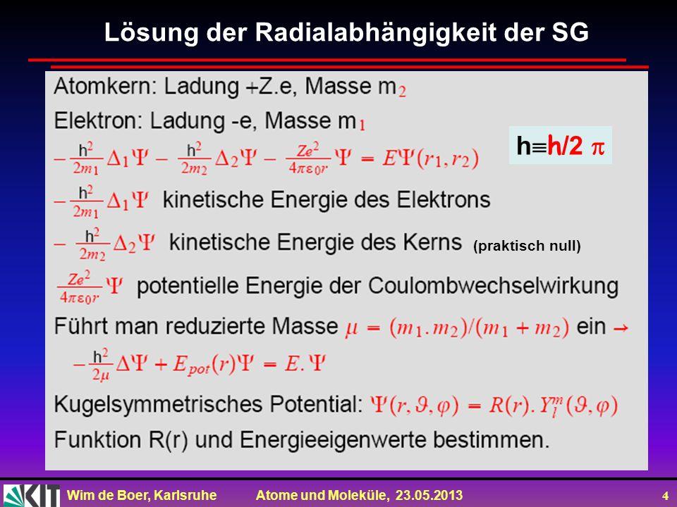 Wim de Boer, Karlsruhe Atome und Moleküle, 23.05.2013 4 Lösung der Radialabhängigkeit der SG h h /2 (praktisch null)