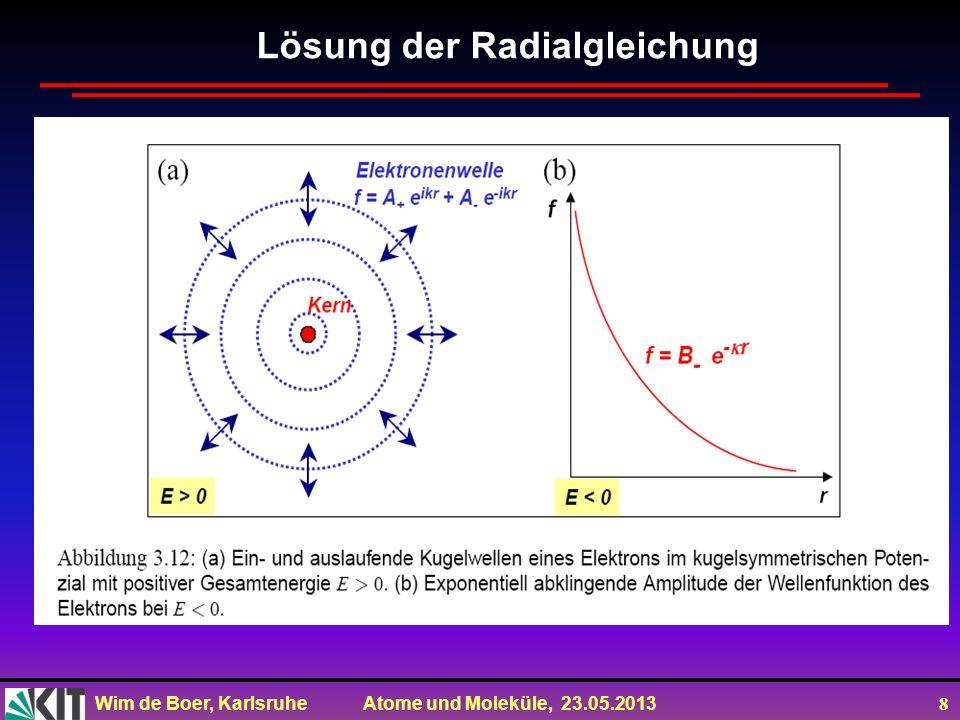 Wim de Boer, Karlsruhe Atome und Moleküle, 23.05.2013 8 Lösung der Radialgleichung