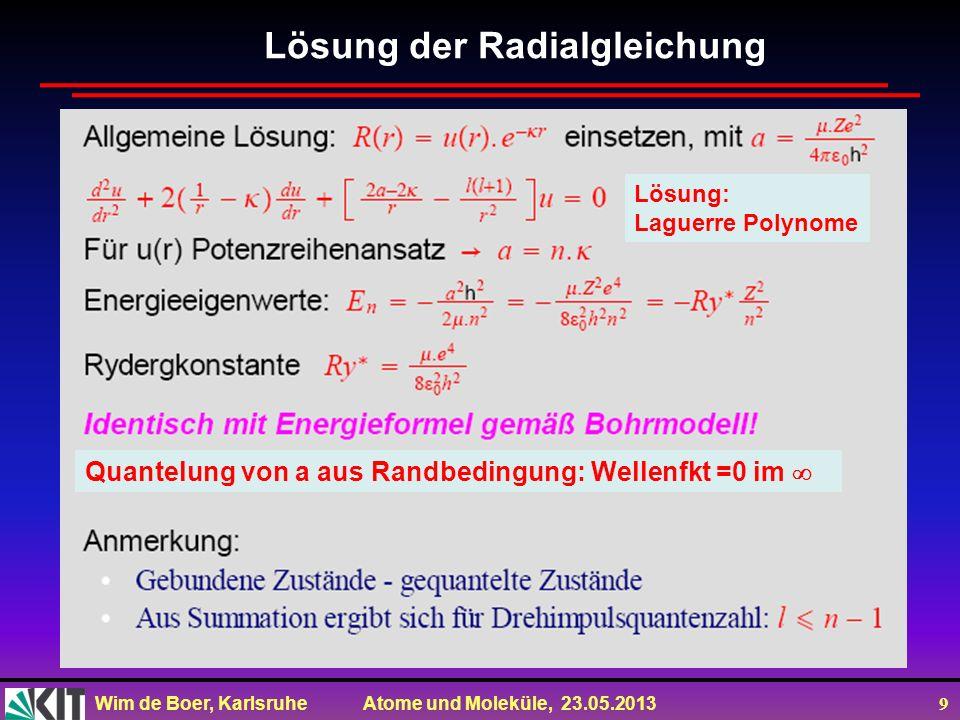 Wim de Boer, Karlsruhe Atome und Moleküle, 23.05.2013 9 Lösung der Radialgleichung Lösung: Laguerre Polynome Quantelung von a aus Randbedingung: Wellenfkt =0 im