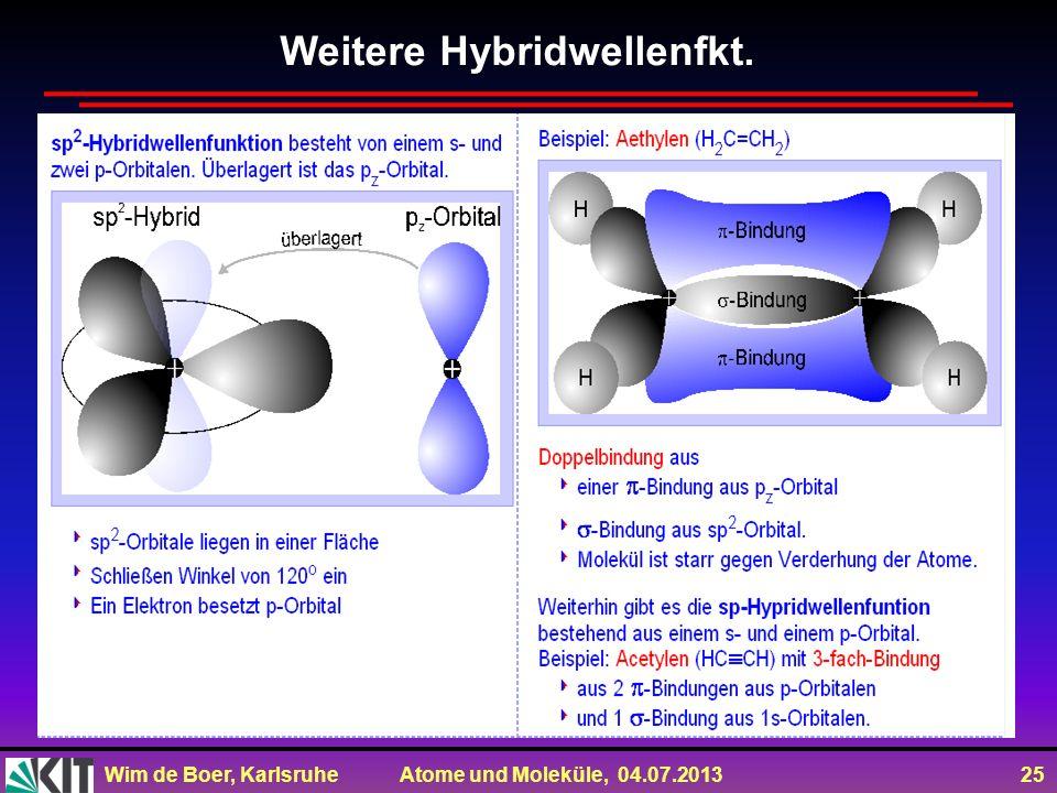 Wim de Boer, Karlsruhe Atome und Moleküle, 04.07.2013 25 Weitere Hybridwellenfkt.