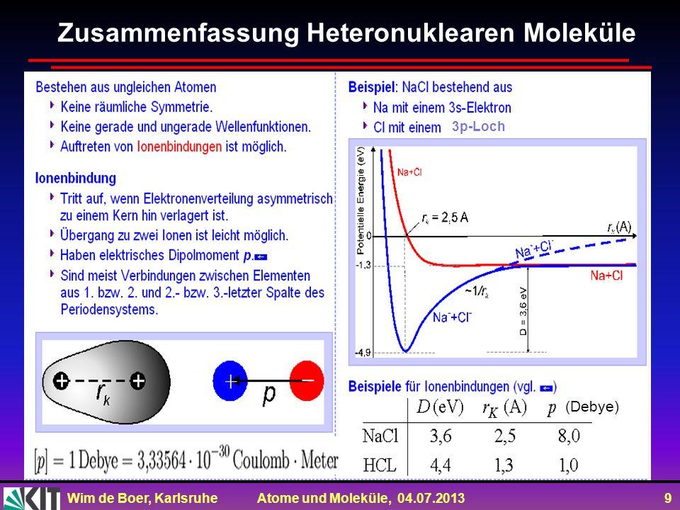 Wim de Boer, Karlsruhe Atome und Moleküle, 04.07.2013 30 Zum Mitnehmen Moleküle: Wellenfunktion aus Linearkombinationen der Wellenfkt.