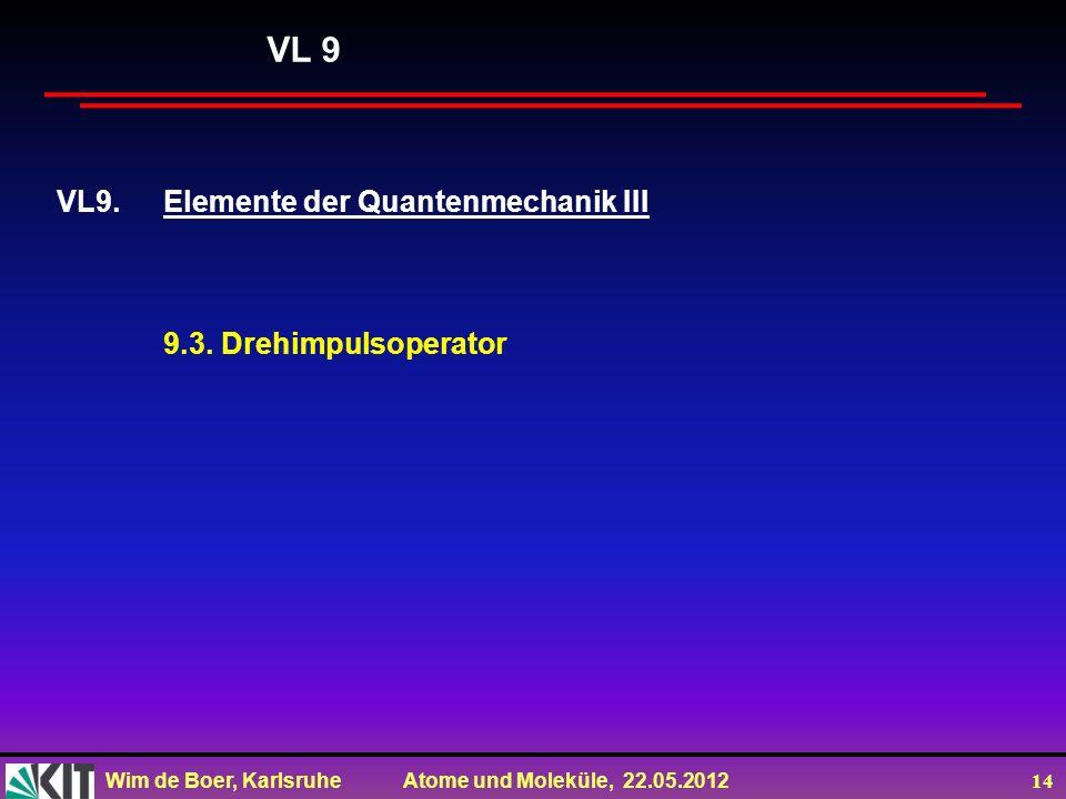 Wim de Boer, Karlsruhe Atome und Moleküle, 22.05.2012 14 VL9.Elemente der Quantenmechanik III 9.3. Drehimpulsoperator VL 9