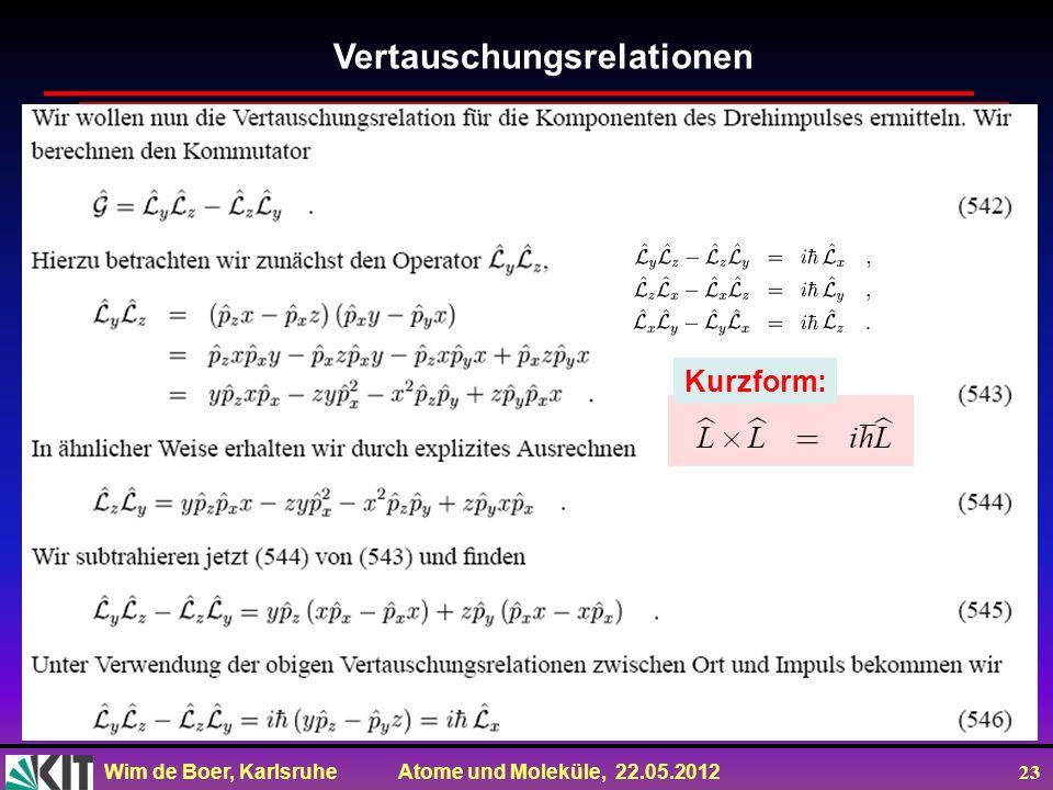 Wim de Boer, Karlsruhe Atome und Moleküle, 22.05.2012 23 Vertauschungsrelationen Kurzform: