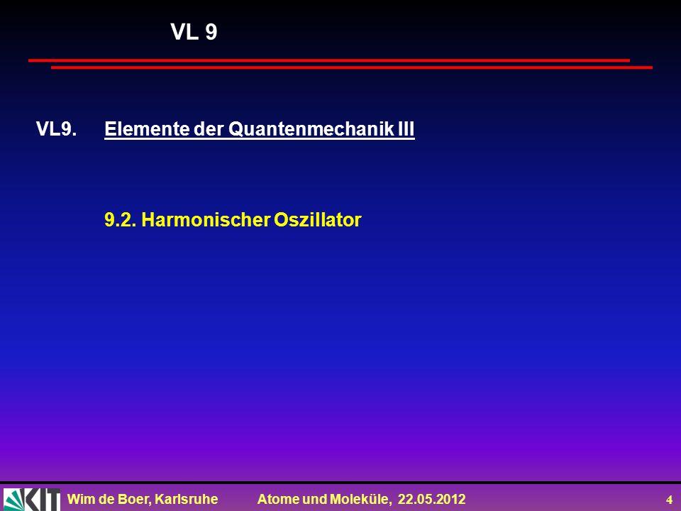 Wim de Boer, Karlsruhe Atome und Moleküle, 22.05.2012 5 Lösung der SG mit Potential eines harmonischen Oszillators (wie vorher beim Rechteckpotential) für V=cx 2 Der Kommutator [a - a + ]=ħω 0, d.h.