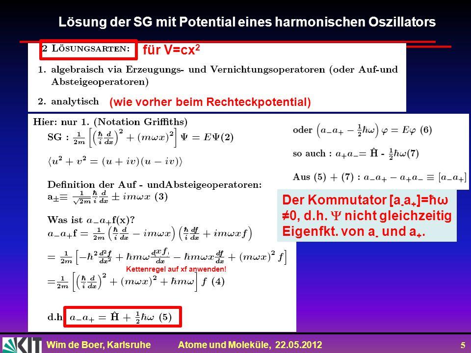 Wim de Boer, Karlsruhe Atome und Moleküle, 22.05.2012 5 Lösung der SG mit Potential eines harmonischen Oszillators (wie vorher beim Rechteckpotential)