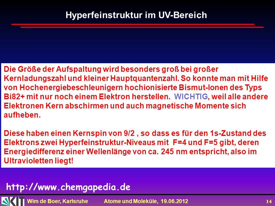 Wim de Boer, Karlsruhe Atome und Moleküle, 19.06.2012 14 Die Größe der Aufspaltung wird besonders groß bei großer Kernladungszahl und kleiner Hauptqua