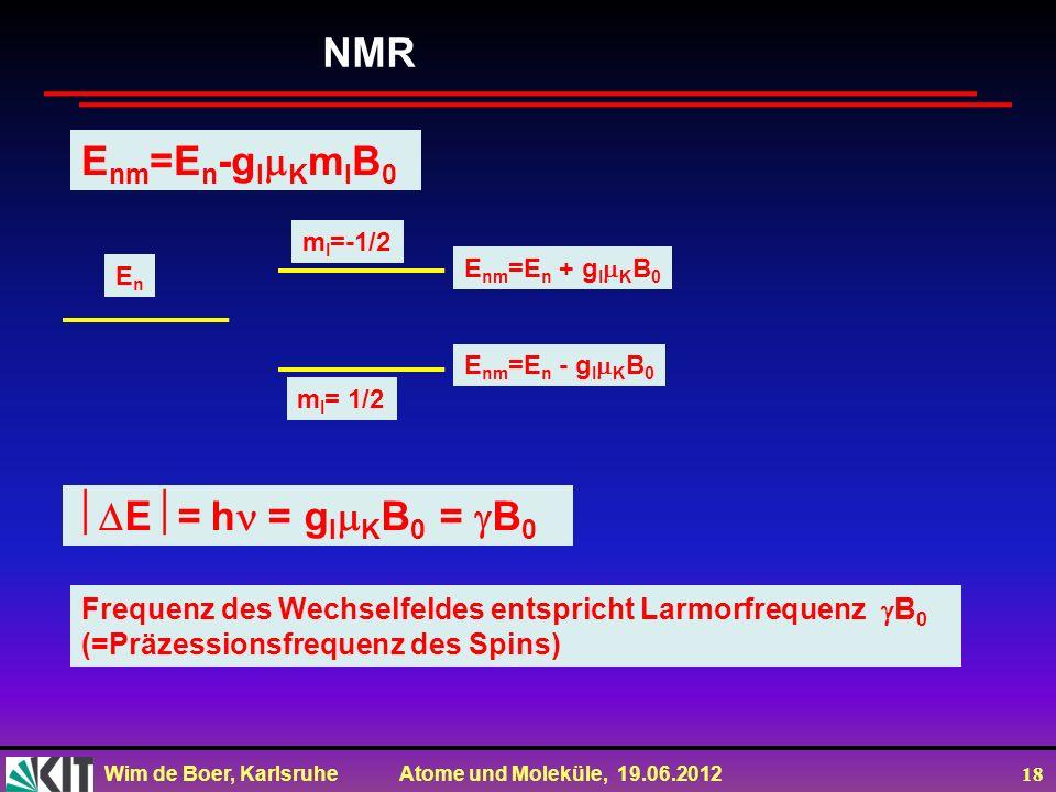 Wim de Boer, Karlsruhe Atome und Moleküle, 19.06.2012 18 NMR E nm =E n + g I K B 0 EnEn E nm =E n -g I K m I B 0 E nm =E n - g I K B 0 m I =-1/2 m I =