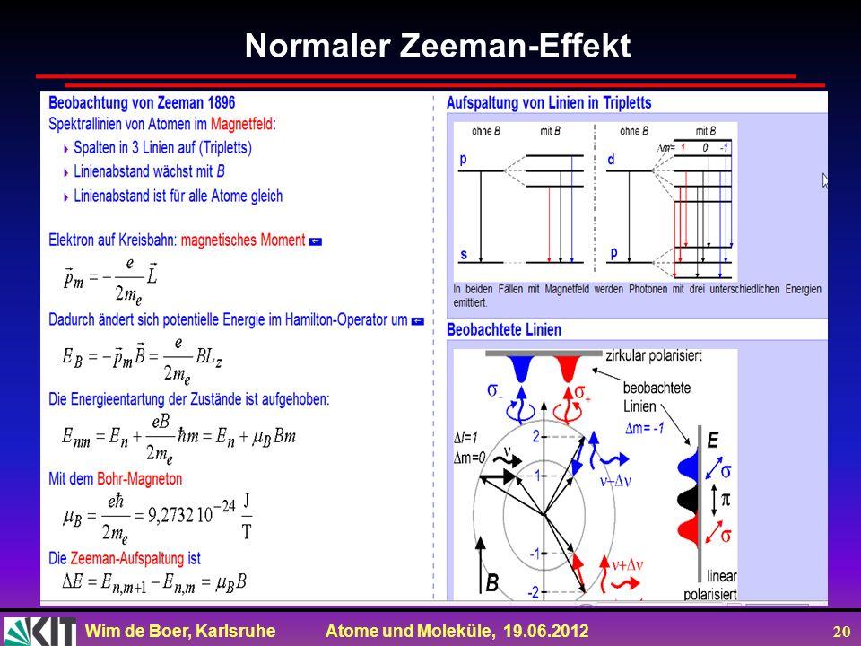 Wim de Boer, Karlsruhe Atome und Moleküle, 19.06.2012 20 Normaler Zeeman-Effekt