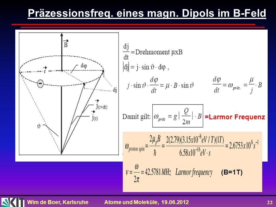 Wim de Boer, Karlsruhe Atome und Moleküle, 19.06.2012 22 Präzessionsfreq. eines magn. Dipols im B-Feld =Larmor Frequenz (B=1T)