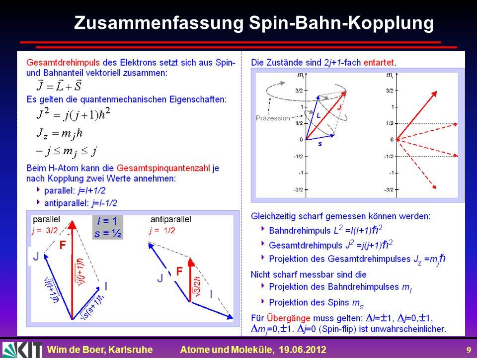 Wim de Boer, Karlsruhe Atome und Moleküle, 19.06.2012 9 Zusammenfassung Spin-Bahn-Kopplung F I J F I J