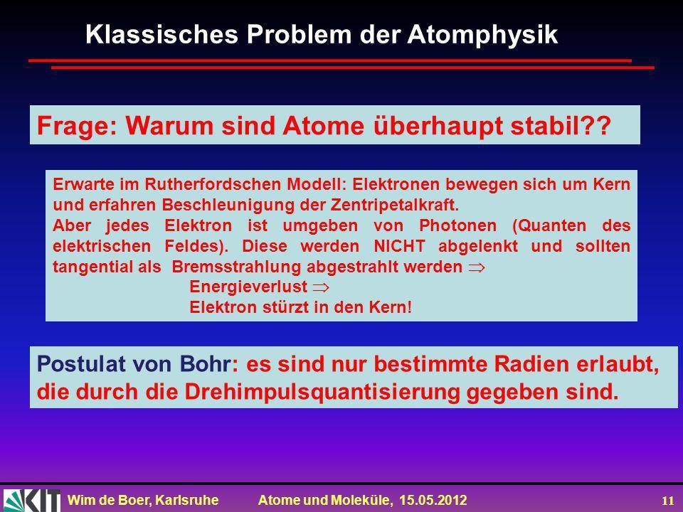 Wim de Boer, Karlsruhe Atome und Moleküle, 15.05.2012 11 Klassisches Problem der Atomphysik Frage: Warum sind Atome überhaupt stabil?? Erwarte im Ruth
