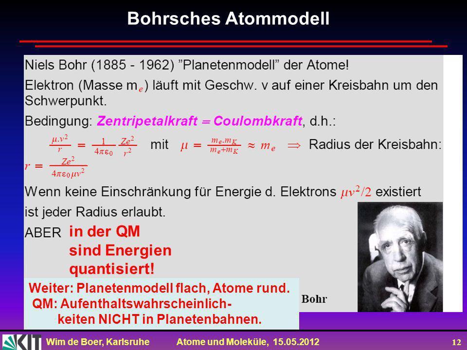 Wim de Boer, Karlsruhe Atome und Moleküle, 15.05.2012 12 Bohrsches Atommodell in der QM sind Energien quantisiert! Weiter: Planetenmodell flach, Atome