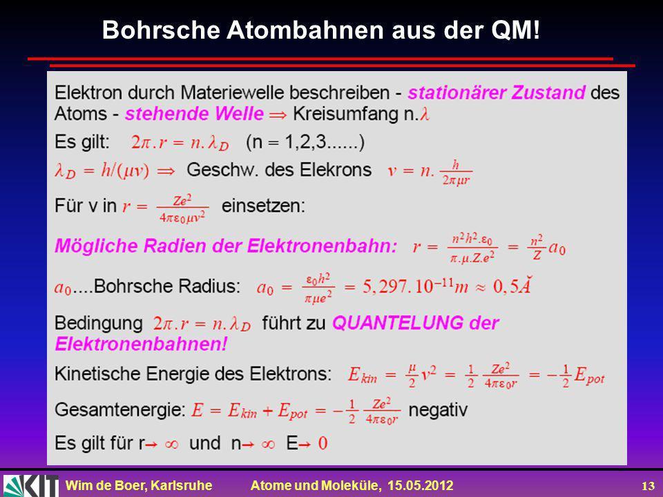 Wim de Boer, Karlsruhe Atome und Moleküle, 15.05.2012 13 Bohrsche Atombahnen aus der QM!