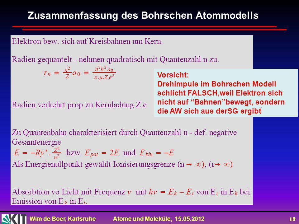 Wim de Boer, Karlsruhe Atome und Moleküle, 15.05.2012 18 Zusammenfassung des Bohrschen Atommodells Vorsicht: Drehimpuls im Bohrschen Modell schlicht F