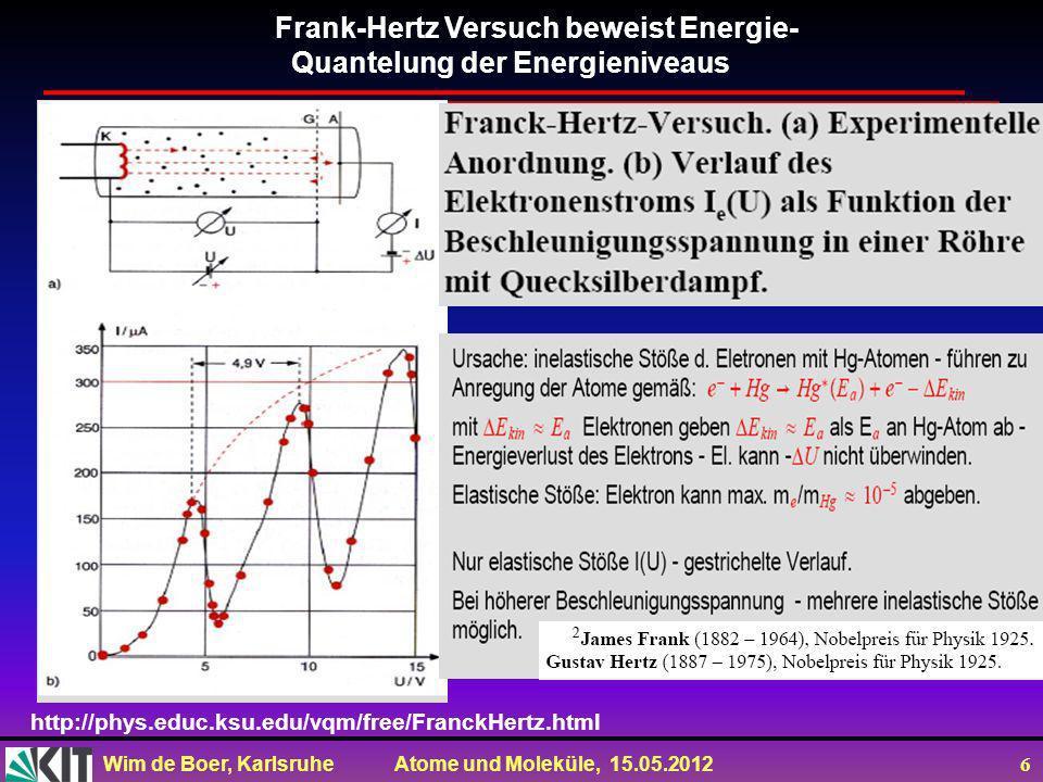 Wim de Boer, Karlsruhe Atome und Moleküle, 15.05.2012 27 Rydberg Atome Ein Rydberg-Zustand (nach Johannes Rydberg) ist ein quantenmechanischer Zustand eines Atoms, Ions oder Moleküls, bei dem das äußerste Elektron weit vom Zentrum entfernt.
