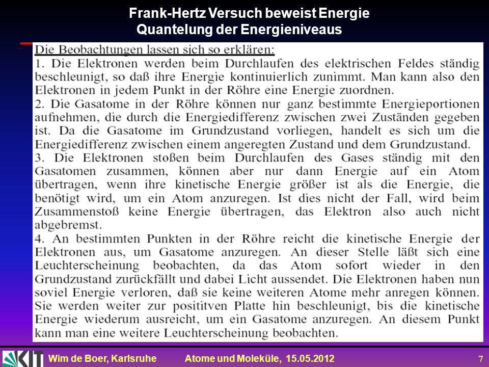 Wim de Boer, Karlsruhe Atome und Moleküle, 15.05.2012 18 Zusammenfassung des Bohrschen Atommodells Vorsicht: Drehimpuls im Bohrschen Modell schlicht FALSCH,weil Elektron sich nicht auf Bahnenbewegt, sondern die AW sich aus derSG ergibt