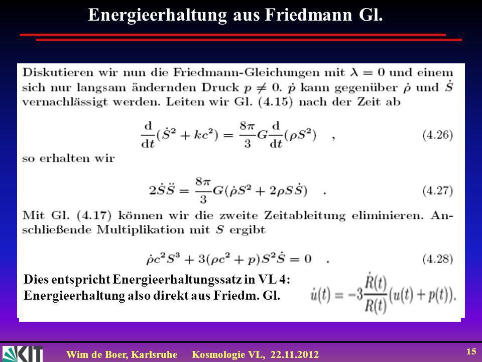 Wim de Boer, KarlsruheKosmologie VL, 22.11.2012 15 Energieerhaltung aus Friedmann Gl. Dies entspricht Energieerhaltungssatz in VL 4: Energieerhaltung