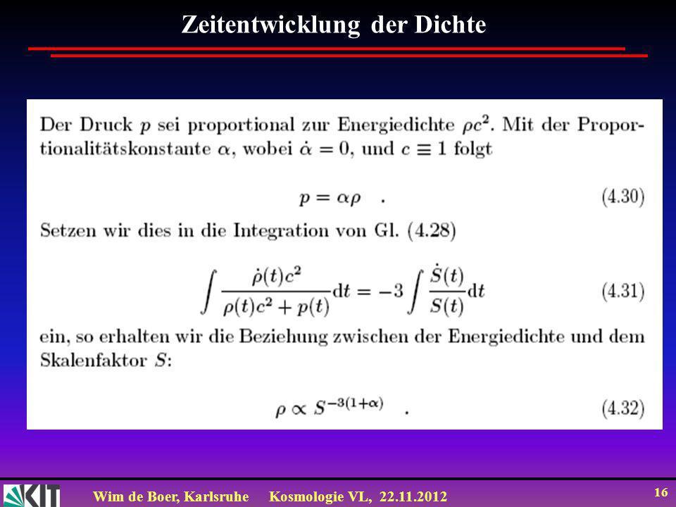 Wim de Boer, KarlsruheKosmologie VL, 22.11.2012 16 Zeitentwicklung der Dichte
