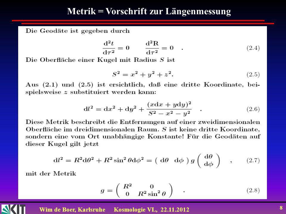 Wim de Boer, KarlsruheKosmologie VL, 22.11.2012 19 Zeitentwicklung des Universums